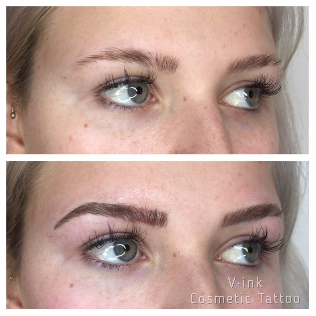Before and after Blond Feathering Eyebrow Tattoo Melbourne