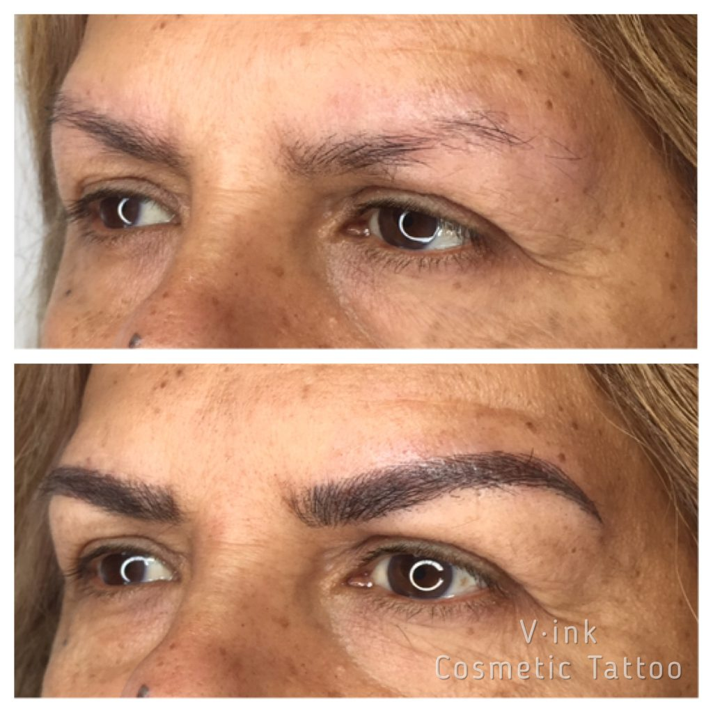 Before and after Feathering Eyebrow Tattoo Melbourne