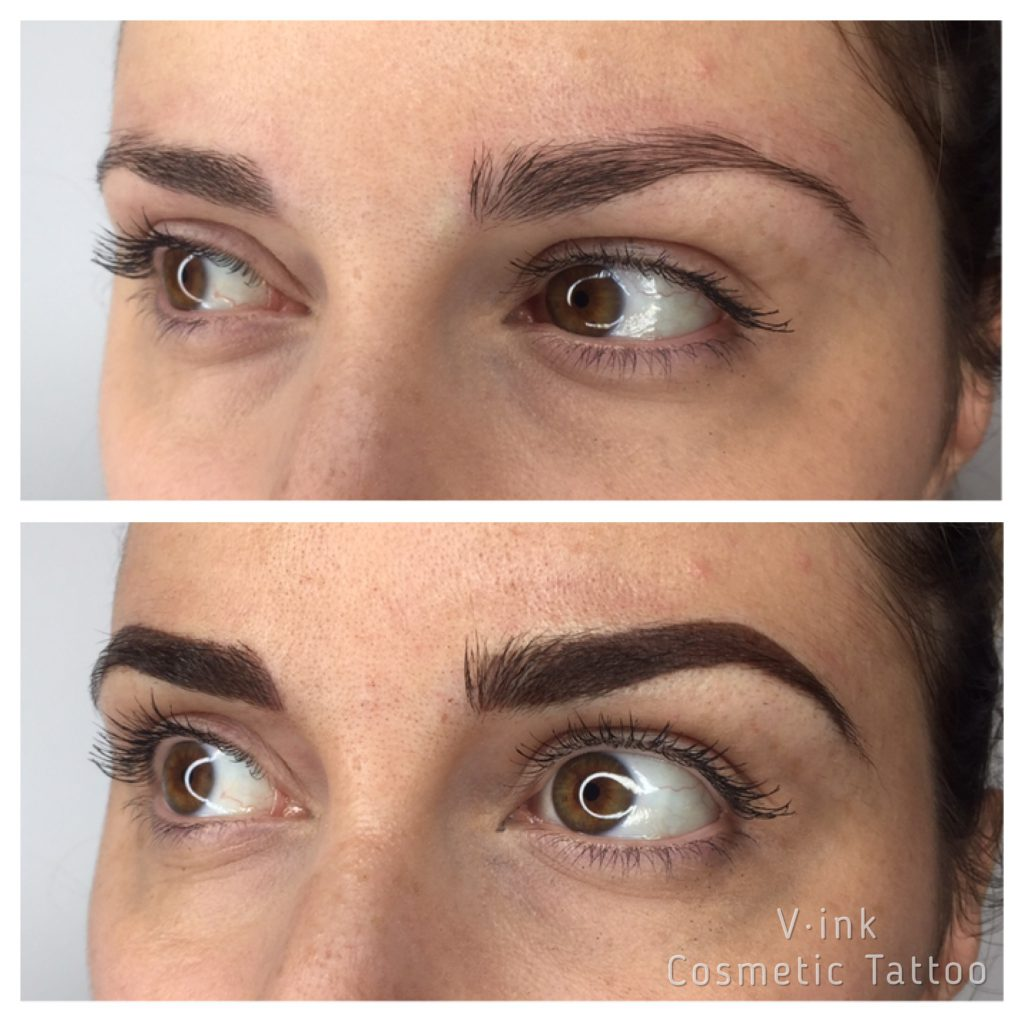 Before and after Combination brow melbourne, Eyebrow Tattoo Melbourne, Feathering, Ombrè, Cosmetic Tattoo Melbourne, Best Natural Eyebrow Tattoo.