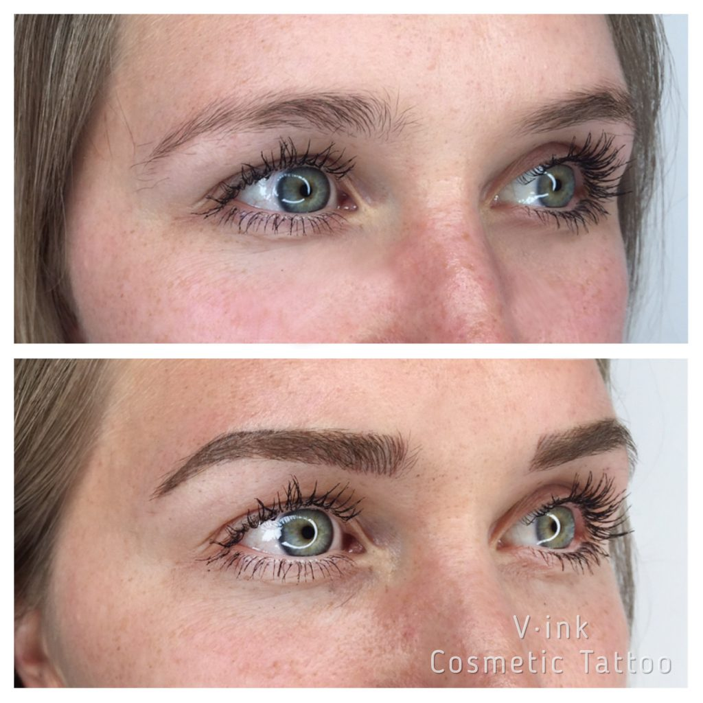 before and after blond Eyebrow Tattoo Melbourne
